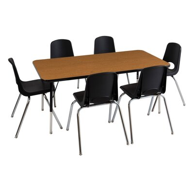 "7 Piece Rectangular Activity Table & 16"" Chair Set Leg Type: Standard Leg with Swivel Glide, Side Finish: Black, Tabletop Finish: Oak"