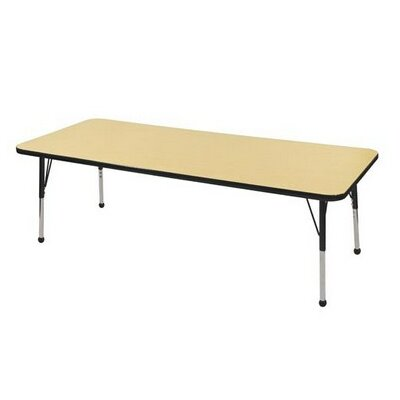 """Thermo-Fused Adjustable 30"""" x 72"""" Rectangular Activity Table Tabletop Finish: Gray, Side Finish: Black"""