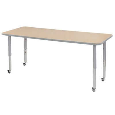 """Maple Contour Thermo-Fused Adjustable 30"""" x 72"""" Rectangular Activity Table Side Finish: Maple"""