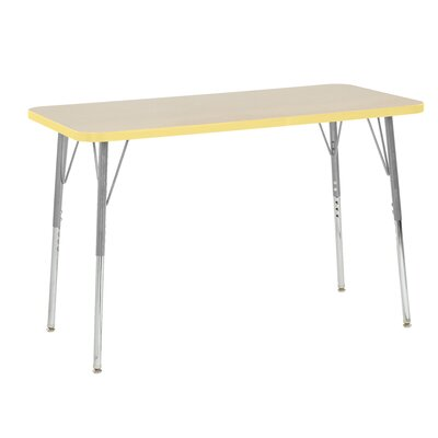 "Maple Contour Thermo-Fused Adjustable 24"" x 48"" Rectangular Activity Table Side Finish: Squash"