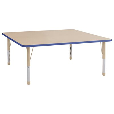 """Maple Top Thermo-Fused Adjustable 60"""" Square Activity Table Leg Type: Chunky Leg, Side Finish: Maple"""