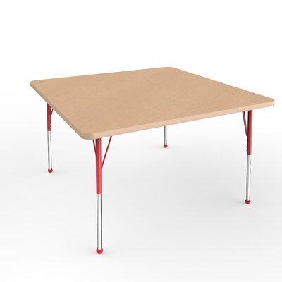 "ECR4Kids 48"" Square Activity Table Side Finish: Red, Leg Type: Standard Leg Ball Glides"