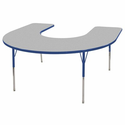 "8 Piece Horseshoe Activity Table & 14"" Chair Set Tabletop Finish: Gray, Side Finish: Blue, Leg Type: Standard Leg with Swivel Glide"