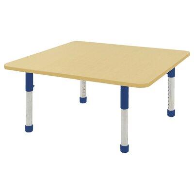 """ECR4Kids 48"""" Square Activity Table Side Finish: Blue, Leg Type: Chunky Leg"""