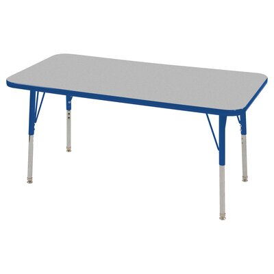 """Thermo-Fused Adjustable 24"""" x 48"""" Rectangular Activity Table Leg Type: Standard Swivel Glide, Tabletop Finish: Gray, Side Finish: Blue"""