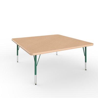 """ECR4Kids 48"""" Square Activity Table Side Finish: Green, Leg Type: Toddler Leg Standard Nylon Glides"""