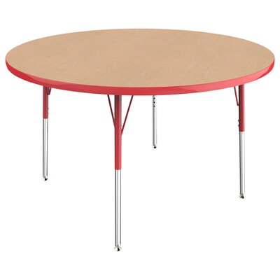 48'' Circular Activity Table Leg Type: Standard with Swivel Glide, Side Finish: Red