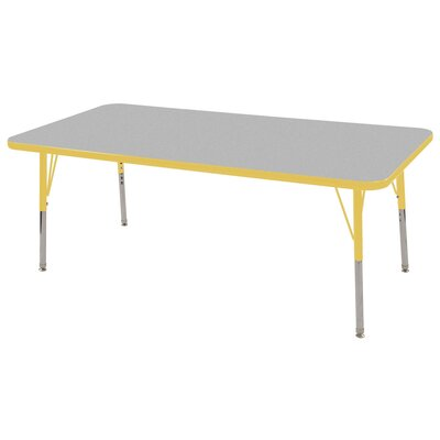 """7 Piece Rectangular Activity Table & 14"""" Chair Set Tabletop Finish: Gray, Side Finish: Yellow, Leg Type: Standard Leg with Swivel Glide"""