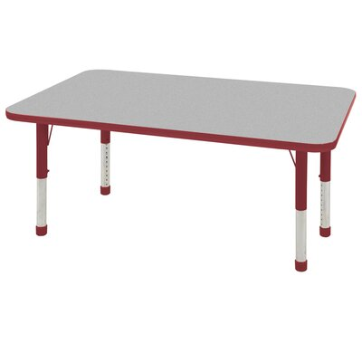 """7 Piece Rectangular Activity Table & 12"""" Chair Set Leg Type: Chunky Leg with Ball Glide, Tabletop Finish: Gray, Side Finish: Red"""
