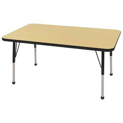 "7 Piece Rectangular Activity Table & 12"" Chair Set Tabletop Finish: Maple, Side Finish: Black, Leg Type: Toddler Leg with Ball Glide"