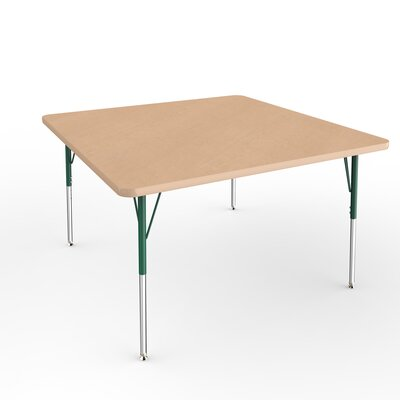 "ECR4Kids 48"" Square Activity Table Side Finish: Green, Leg Type: Standard Leg Standard Nylon Glides"