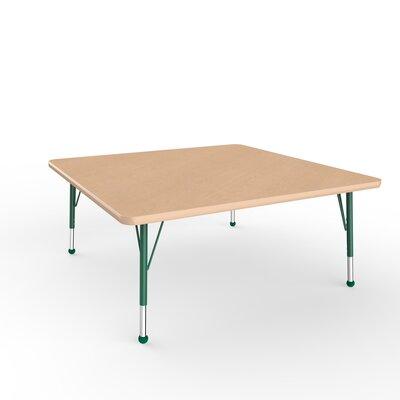 """ECR4Kids 48"""" Square Activity Table Side Finish: Green, Leg Type: Toddler Leg Ball Glides"""