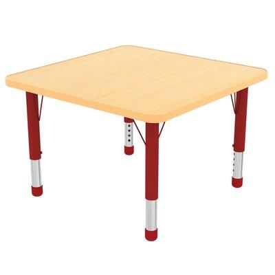 "ECR4Kids 48"" Square Activity Table Side Finish: Red, Leg Type: Chunky Leg"
