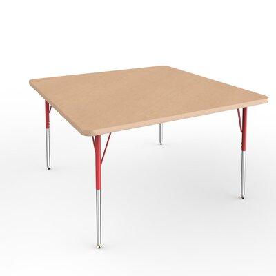 """ECR4Kids 48"""" Square Activity Table Side Finish: Red, Leg Type: Standard Leg Standard Nylon Glides"""