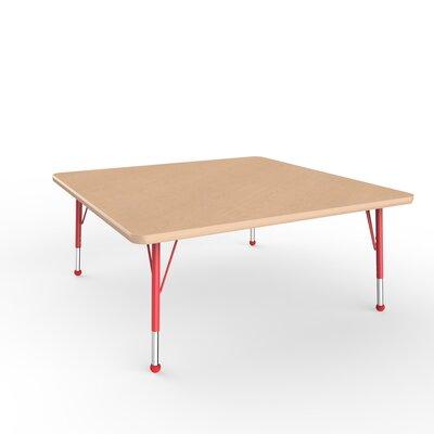 "ECR4Kids 48"" Square Activity Table Side Finish: Red, Leg Type: Toddler Leg Ball Glides"