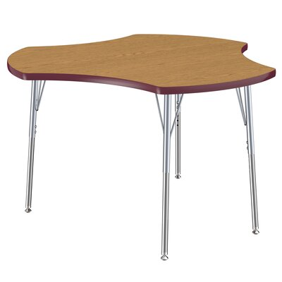 """Cog Thermo-Fused Collaboration Contour Adjustable 44.5"""" x 48"""" Novelty Activity Table Tabletop Finish: Oak, Side Finish: Burgundy"""