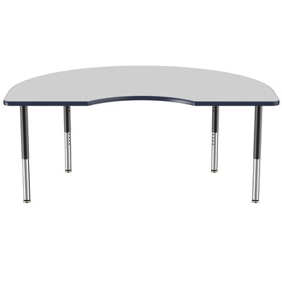 """Kidney Thermo-Fused Adjustable 48"""" x 72"""" Kidney Activity Table Tabletop Finish: Gray, Side Finish: Navy"""