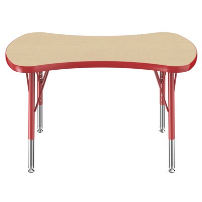 """Bowtie Maple Top Thermo-Fused Adjustable 35.6"""" x 24"""" Novelty Activity Table Side Finish: Red, Leg Type: Toddler Swivel Glide"""