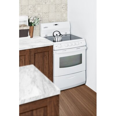 "Summit 24"" Free-standing Smooth-Top Electric Range Color: White"