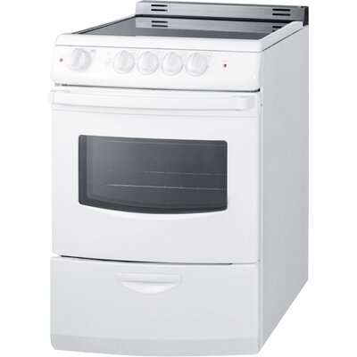 "Summit 24"" Slide-In Smooth-Top Electric Range Color: White"