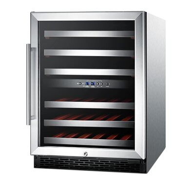 """46 Bottle Dual Zone Convertible Wine Cooler Size: 32"""" H x 23.63"""" W x 25"""" D, Color: Stainless Steel"""
