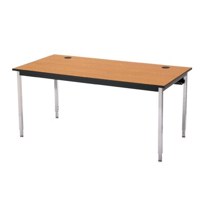 "48"" W 1500 Series Adjustable Height Computer Table with Cable Management Base Finish: Black, Tabletop Finish: Bannister Oak, Size: 72"" W x 30"" D"