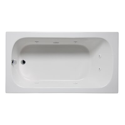 "Miro 72"" x 32"" Drop in Whirlpool Bathtub Finish: White"