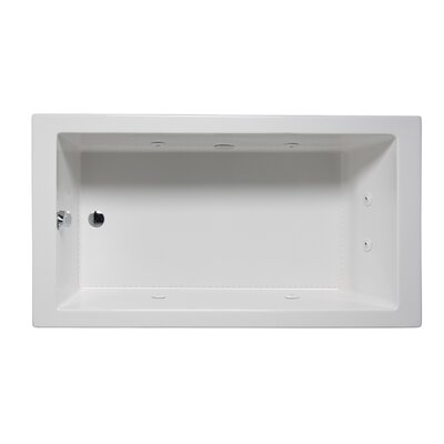 "Wright 66"" x 32"" Drop in Whirlpool Bathtub Finish: White"