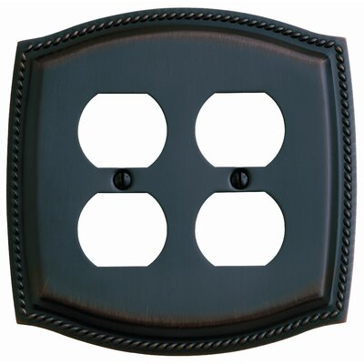 Baldwin Rope Design Double Duplex Switch Plate in Venetian Bronze