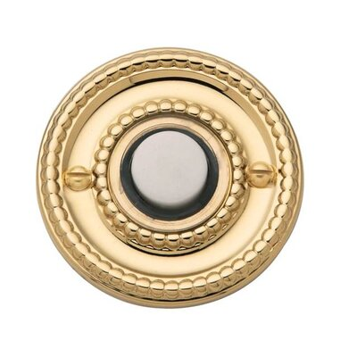 """Beaded Round Bell Surface Mount Pushbutton Color: Bright Brass, Size: 3.1"""" H x 1.8"""" W x 0.6"""" D"""