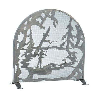 Fly Fishing Creek Arched Single Panel Fireplace Screen