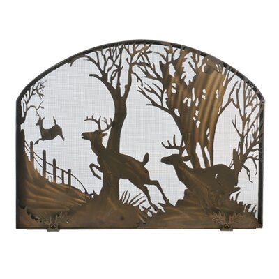 Deer on the Loose Arched Single Panel Fireplace Screen