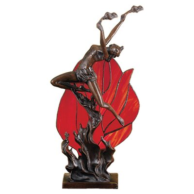 """Meyda Tiffany Flame Dancer Accent 17.5"""" H Lamp with Novelty Shade"""