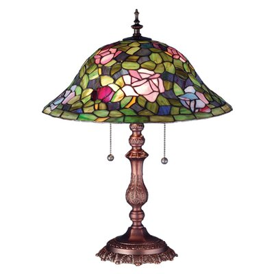 "Meyda Tiffany Victorian Tiffany Rosebush 22"" H Table Lamp with Bell Shade"