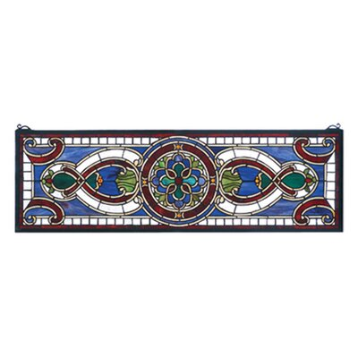 Meyda Tiffany Victorian Evelyn in Lapis Transom Stained Glass Window