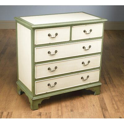 5 Drawer Chest Color: Antique Cream/Green
