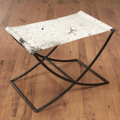 Cowhide and Rebar Accent Stool