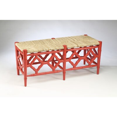 Marites Wood Bench Color: Coral Red
