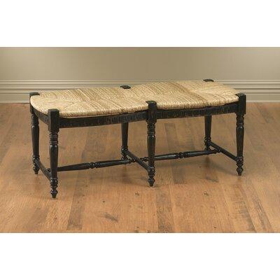 Wicker/Wood Bench Color: Black