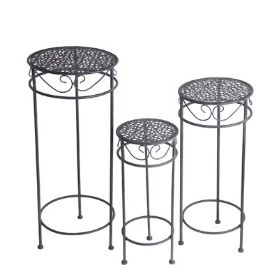 Charity Round Scroll Iron 3 Piece Nesting Plant Stand Set