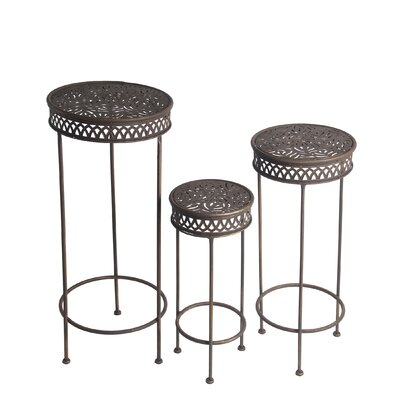 Charity Round Iron 3 Piece Nesting Plant Stand Set
