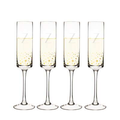 Metz Personalized Dot Contemporary 8 Oz. Champagne Flute Letter: Z