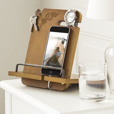 Newport Personalized Steampunk Wooden Docking Station Letter: E
