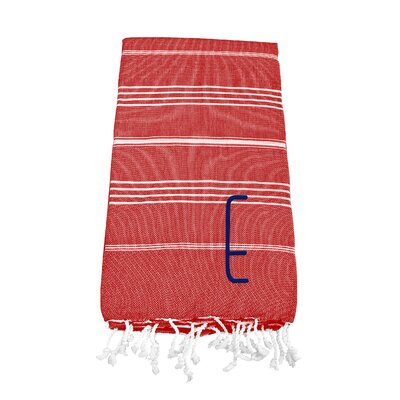 Personalized Red Turkish Cotton Beach Towel Color: E