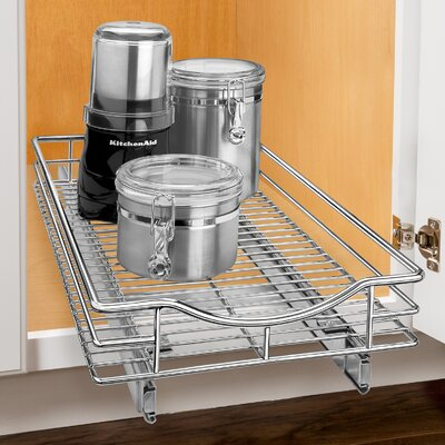 Lynk® Lynk Professional Roll Out Cabinet Organizer - Pull Out Under Cabinet Sliding Shelf - 11 inch wide x 18 inch deep - Chrome