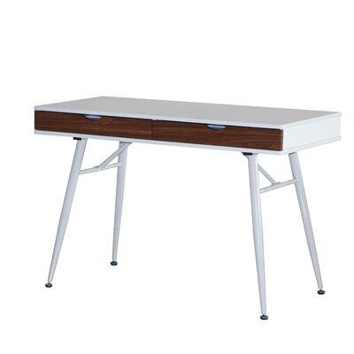 Ogden Unique Writing Desk Finish: White/Walnut