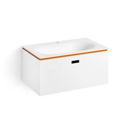 "Linea Ciacole 28"" Single Wall Mounted Bathroom Vanity Set Base Finish: White / Orange"