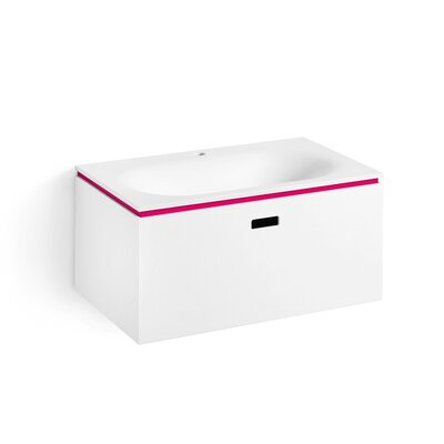 "Linea Ciacole 28"" Single Wall Mounted Bathroom Vanity Set Base Finish: White / Fuchsia"