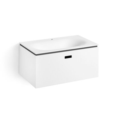 "Linea Ciacole 28"" Single Wall Mounted Bathroom Vanity Set Base Finish: White / Dark Grey"