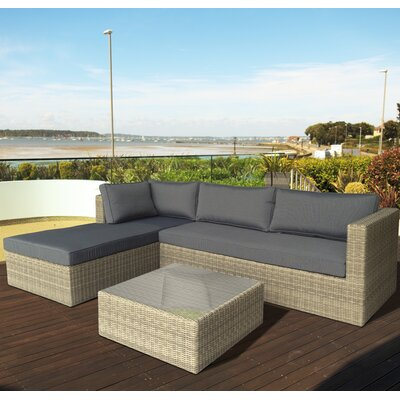 Cozy Bay Eden Rattan Sectional Sofa with Cushions